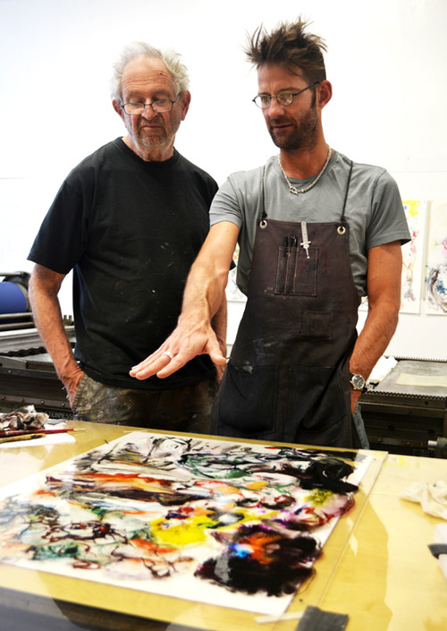 Brian Garner working with artist Raoul Middleman.